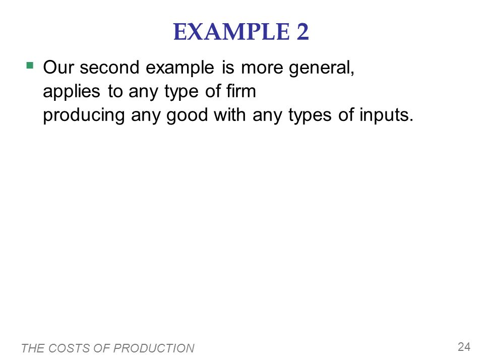EXAMPLE 2 Our second example is more general, applies to any type of firm producing any good with any types of inputs.