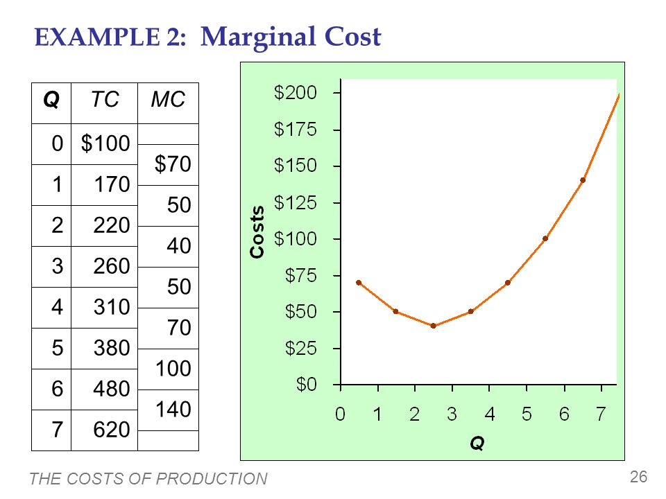 EXAMPLE 2: Marginal Cost