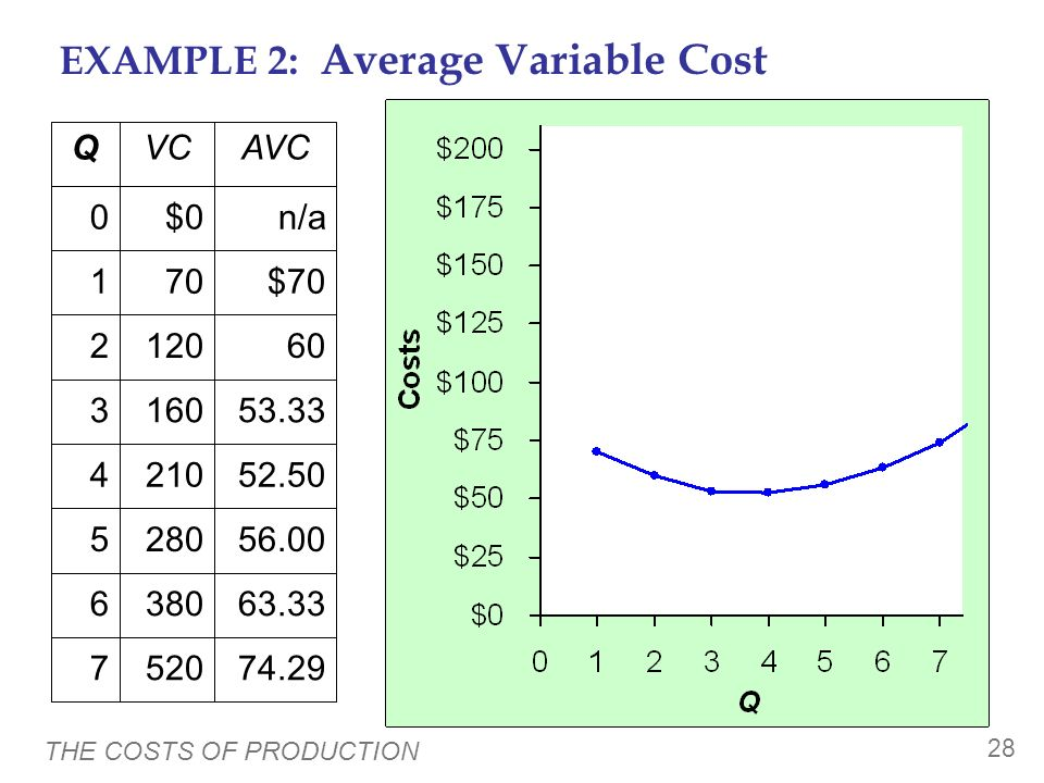 EXAMPLE 2: Average Variable Cost