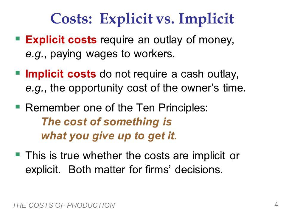 Costs: Explicit vs. Implicit