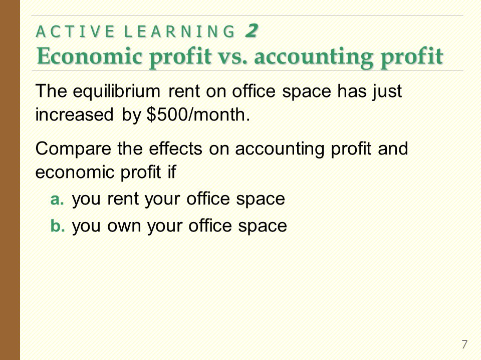 A C T I V E L E A R N I N G 2 Economic profit vs. accounting profit