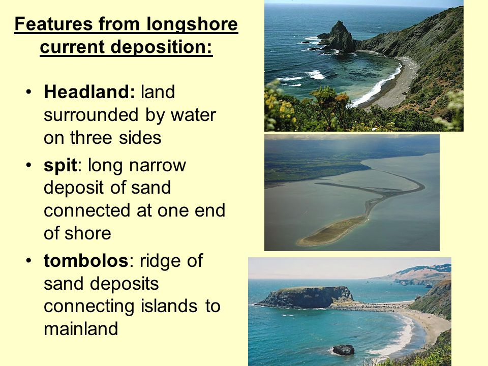 Features from longshore current deposition: