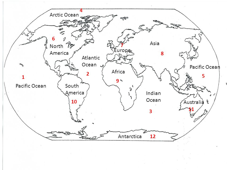 4 Arctic Ocean. 6. Asia. North. America. 7. Europe. 8. Atlantic Ocean. Pacific Ocean. Africa.