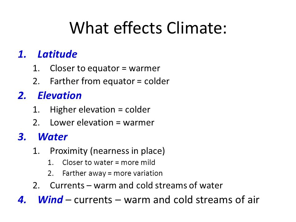 What effects Climate: Latitude Elevation Water