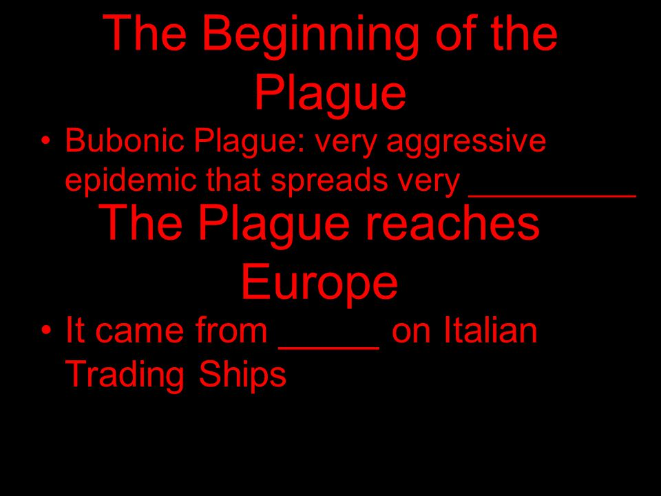 The Beginning of the Plague
