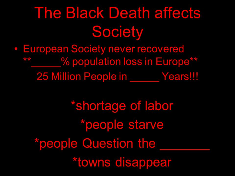The Black Death affects Society