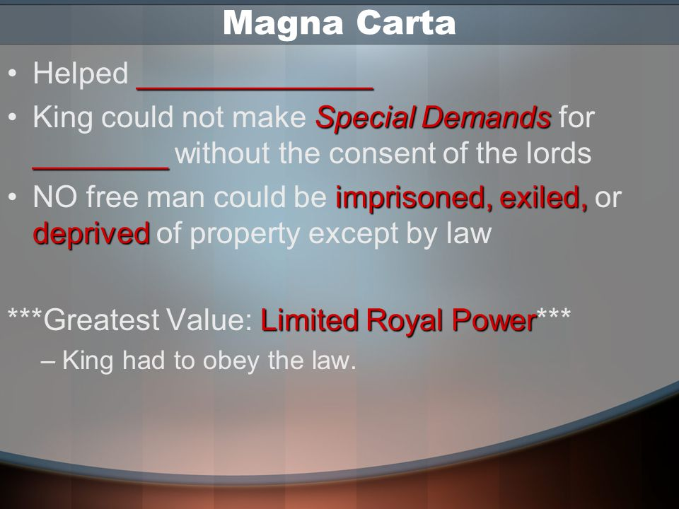 Magna Carta Helped ______________
