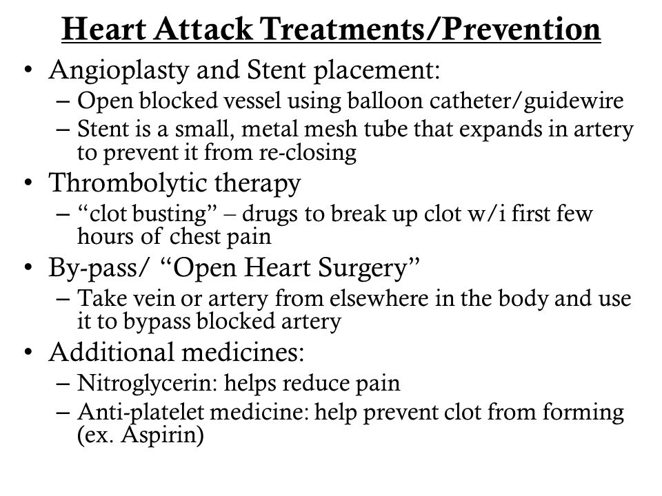 Heart Attack Treatments/Prevention