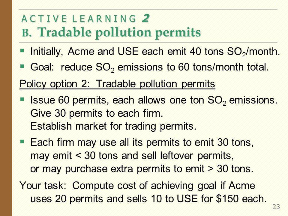 A C T I V E L E A R N I N G 2 B. Tradable pollution permits