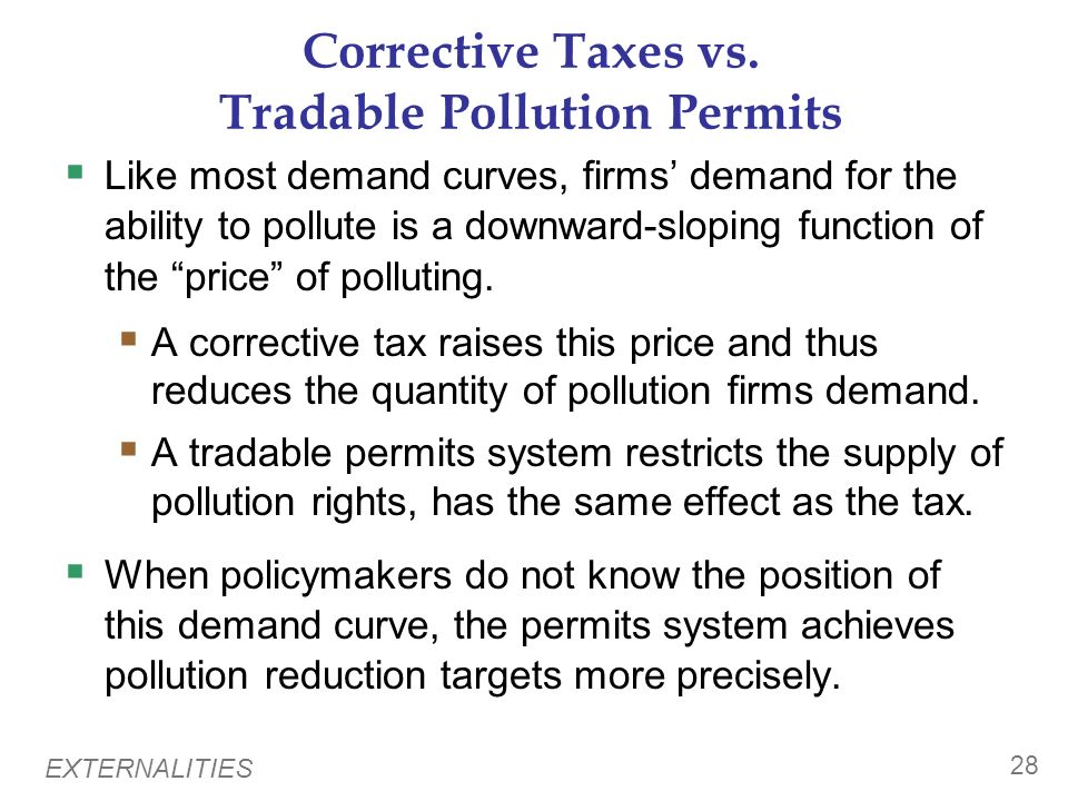 Corrective Taxes vs. Tradable Pollution Permits