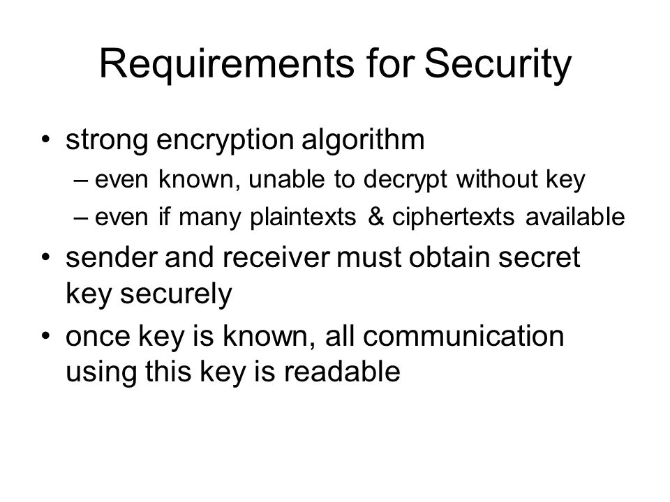 Requirements for Security