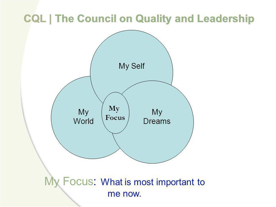 My Focus: What is most important to me now.