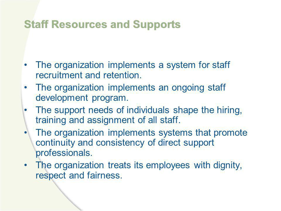 Staff Resources and Supports