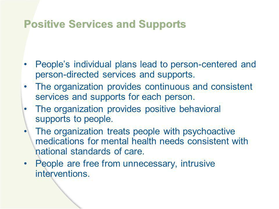 Positive Services and Supports