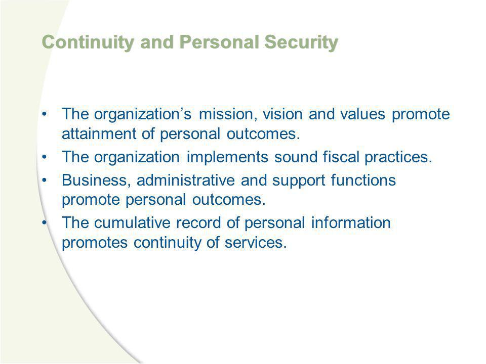 Continuity and Personal Security