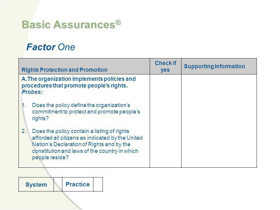 Basic Assurances® Factor One System Practice