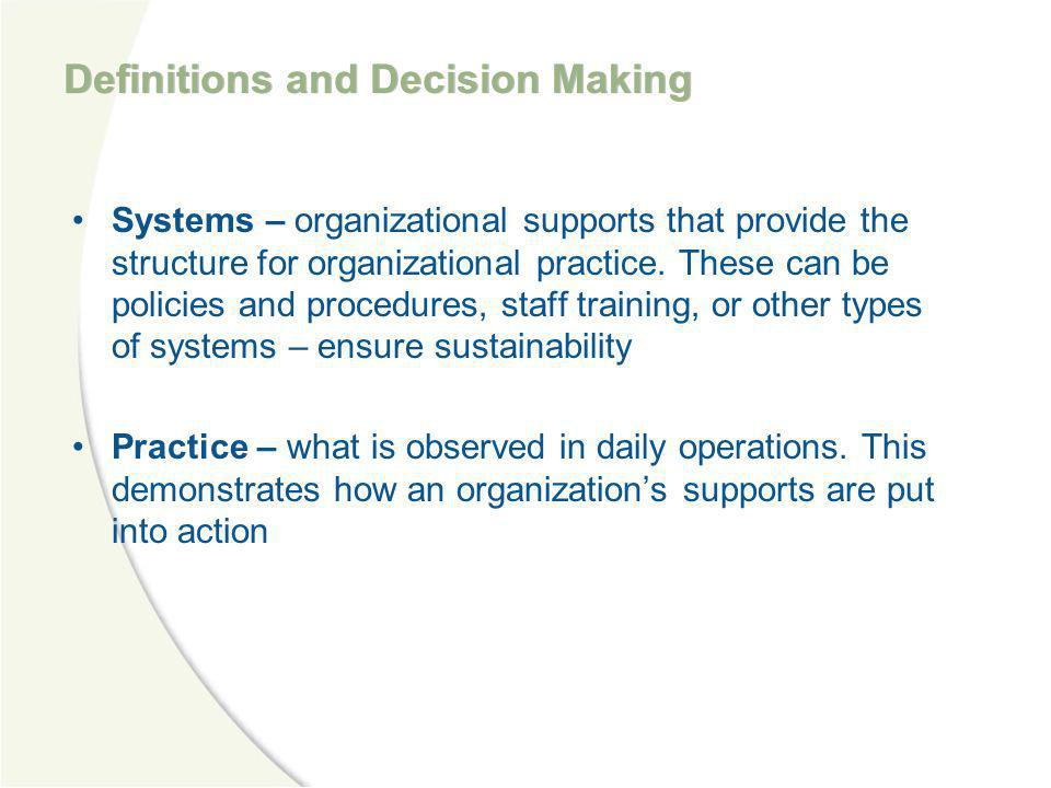 Definitions and Decision Making