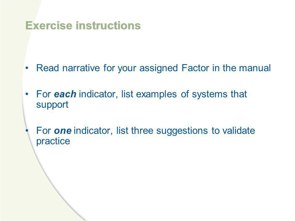 Exercise instructions