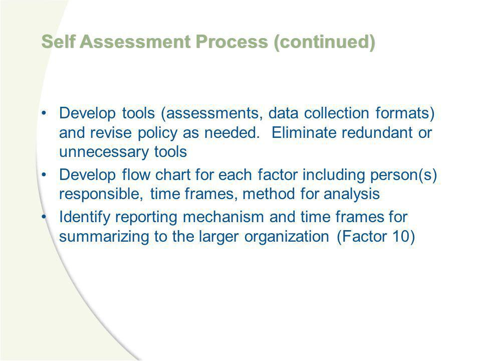 Self Assessment Process (continued)