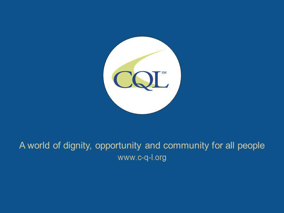 A world of dignity, opportunity and community for all people