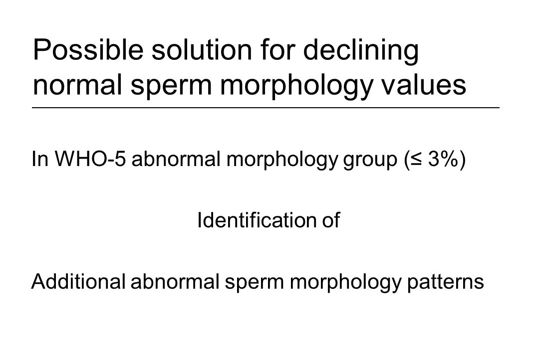 Possible solution for declining normal sperm morphology values