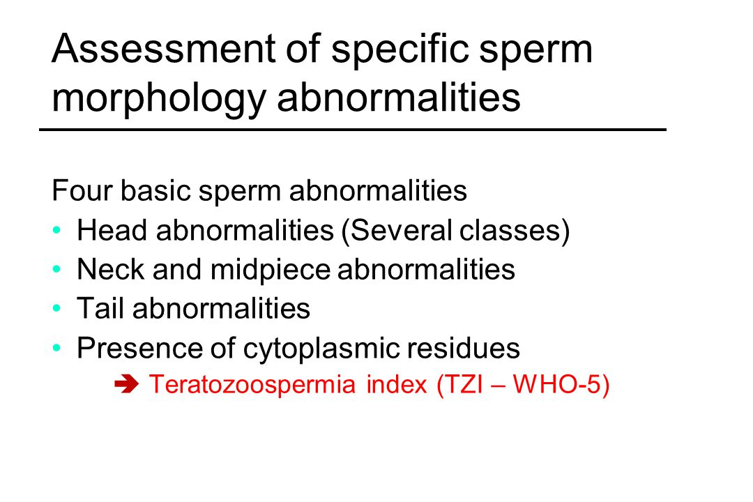 Assessment of specific sperm morphology abnormalities