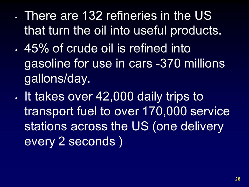 There are 132 refineries in the US that turn the oil into useful products.