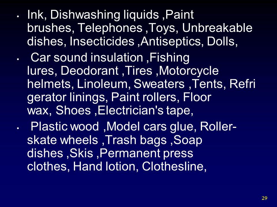 Ink, Dishwashing liquids ,Paint brushes, Telephones ,Toys, Unbreakable dishes, Insecticides ,Antiseptics, Dolls,
