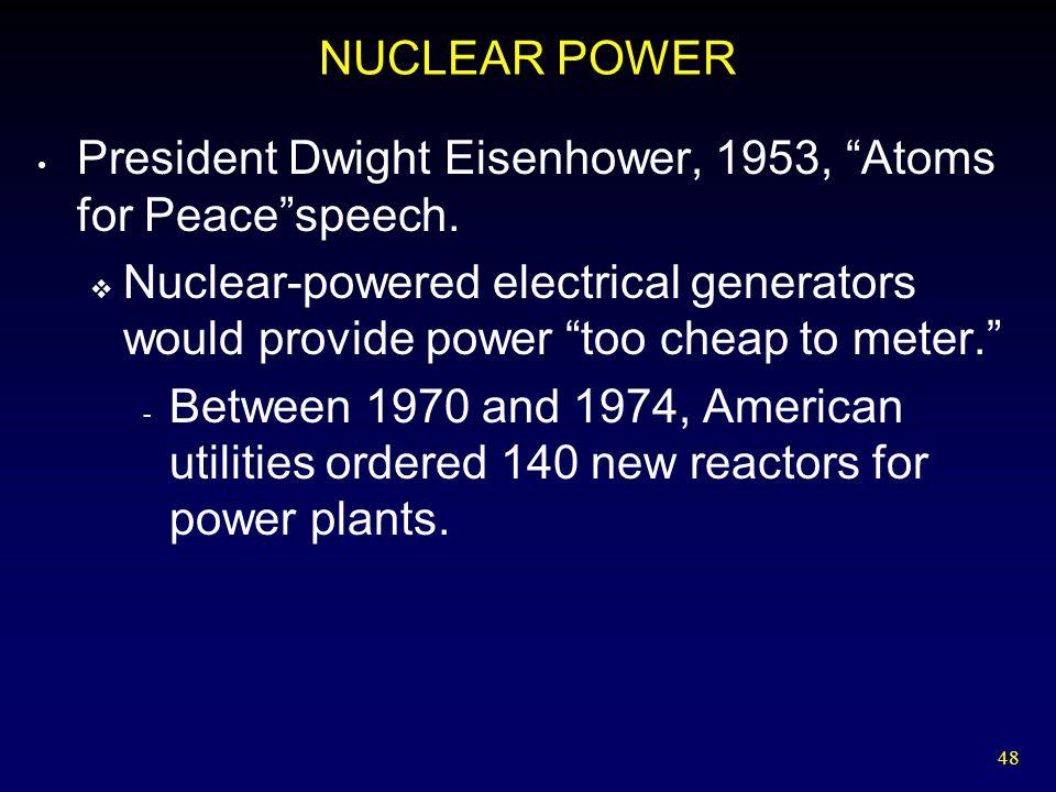 NUCLEAR POWER President Dwight Eisenhower, 1953, Atoms for Peace speech.