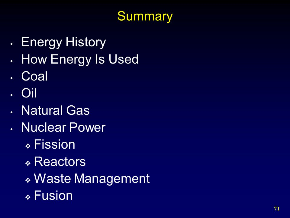 Summary Energy History. How Energy Is Used. Coal. Oil. Natural Gas. Nuclear Power. Fission. Reactors.