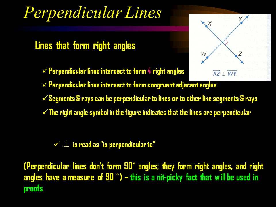 Perpendicular Lines Lines that form right angles