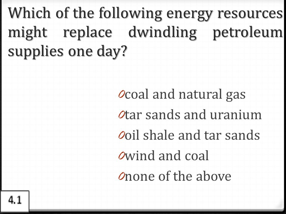 Which of the following energy resources might replace dwindling petroleum supplies one day