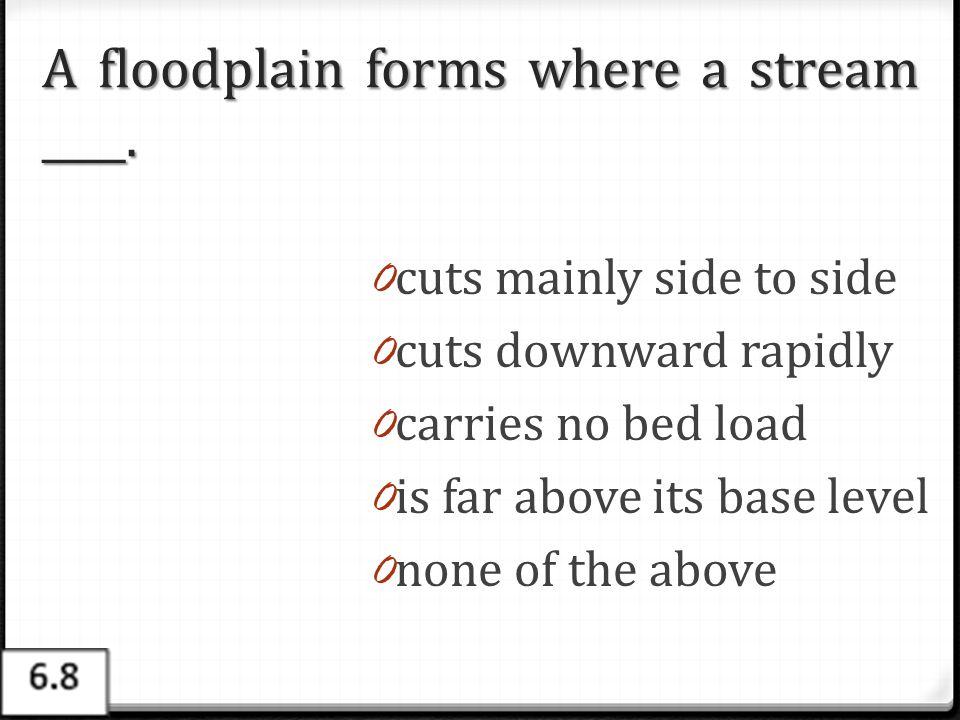 A floodplain forms where a stream ____.