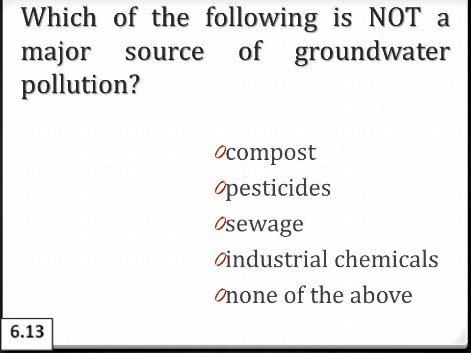 Which of the following is NOT a major source of groundwater pollution