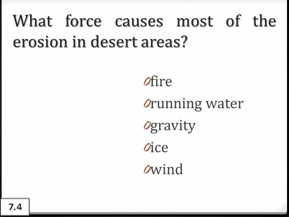 What force causes most of the erosion in desert areas