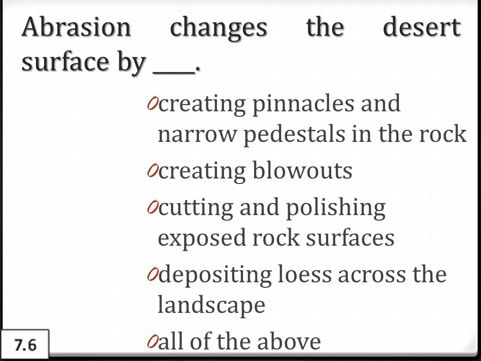 Abrasion changes the desert surface by ____.