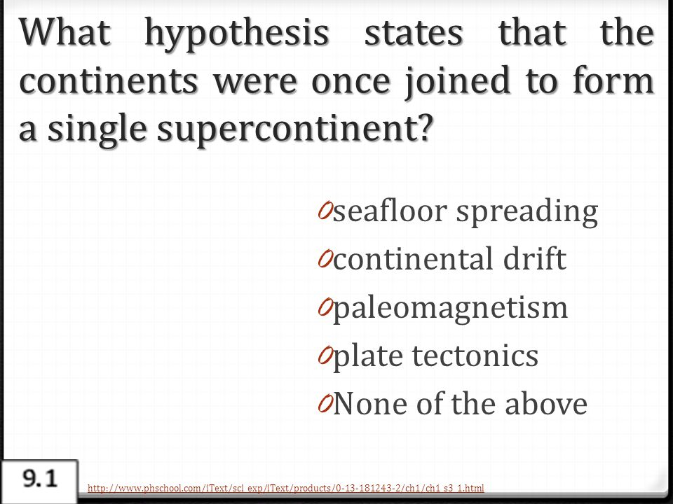What hypothesis states that the continents were once joined to form a single supercontinent