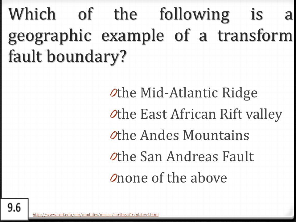 Which of the following is a geographic example of a transform fault boundary