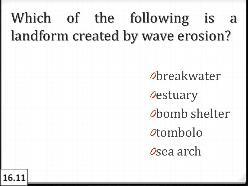 Which of the following is a landform created by wave erosion