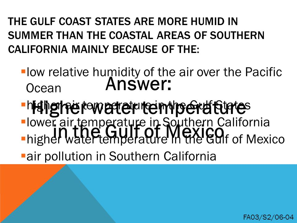 Higher water temperature in the Gulf of Mexico