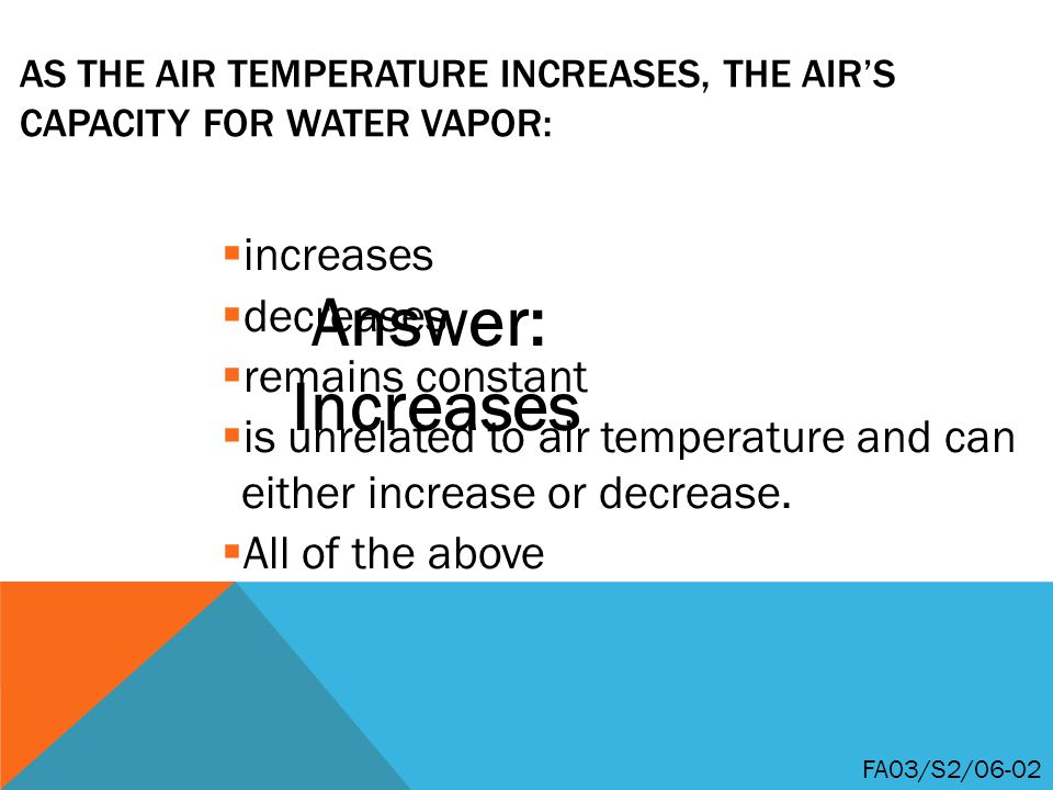 As the air temperature increases, the air's capacity for water vapor: