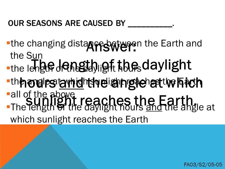 Our seasons are caused by __________.