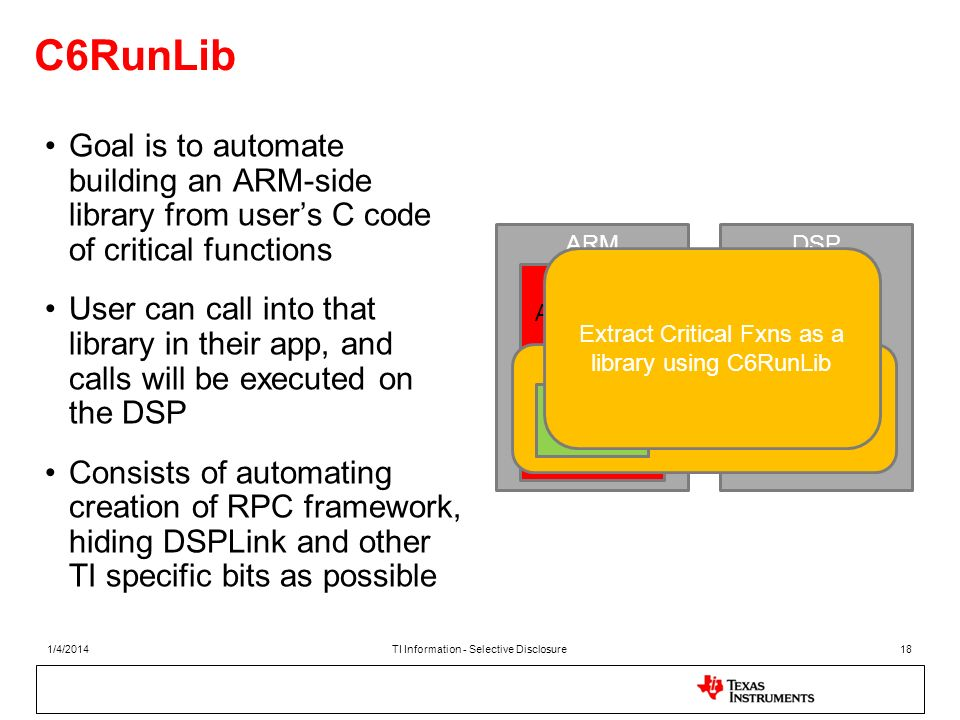 C6RunLib Goal is to automate building an ARM-side library from user's C code of critical functions.