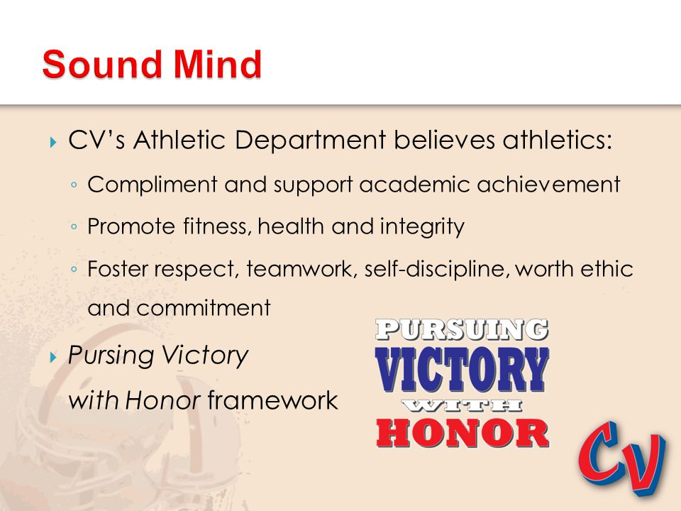 Sound Mind CV's Athletic Department believes athletics: