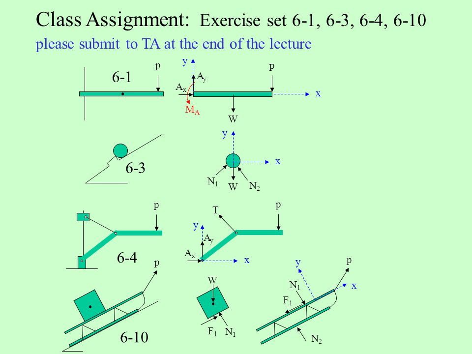 Class Assignment: Exercise set 6-1, 6-3, 6-4, 6-10