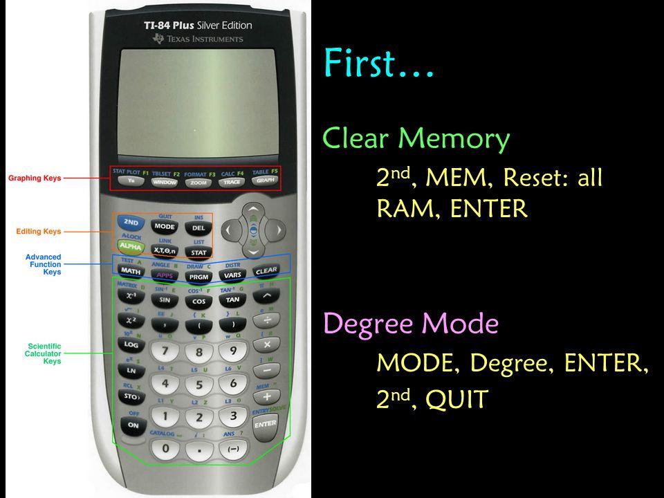 First… Clear Memory Degree Mode 2nd, MEM, Reset: all RAM, ENTER