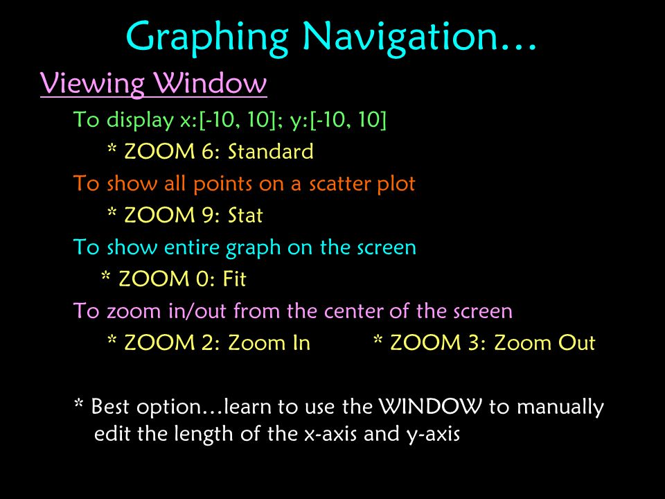 Graphing Navigation… Viewing Window