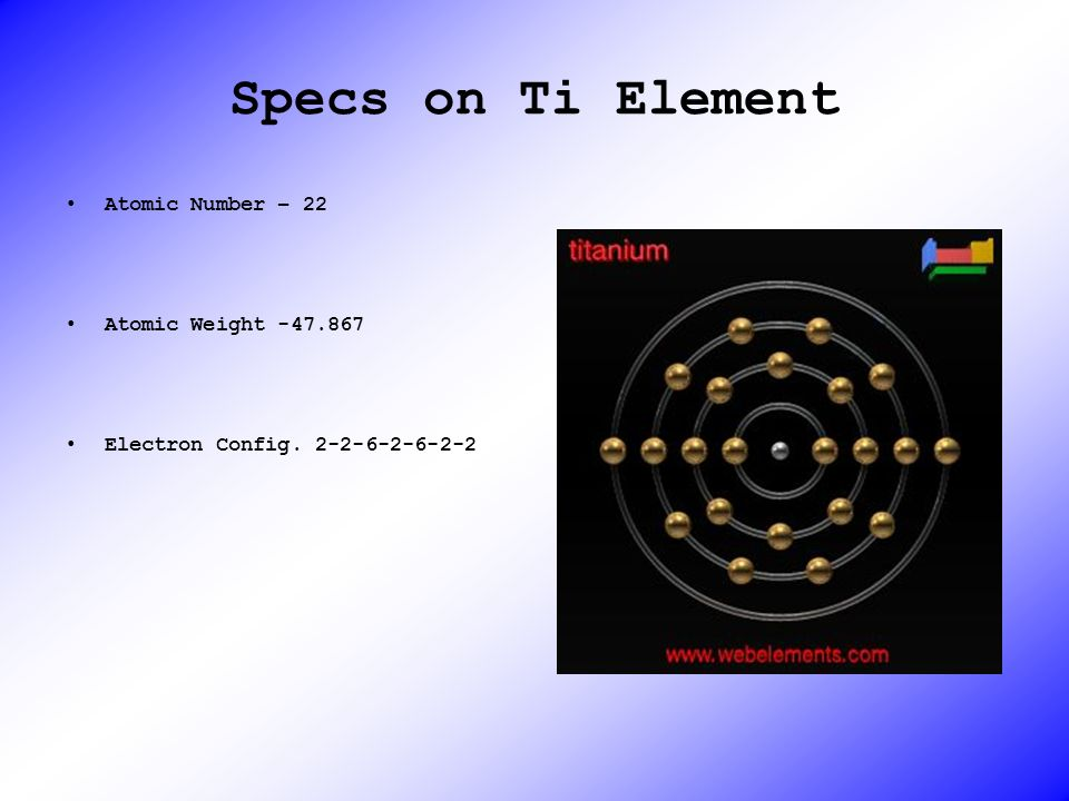 Specs on Ti Element Atomic Number – 22 Atomic Weight -47.867