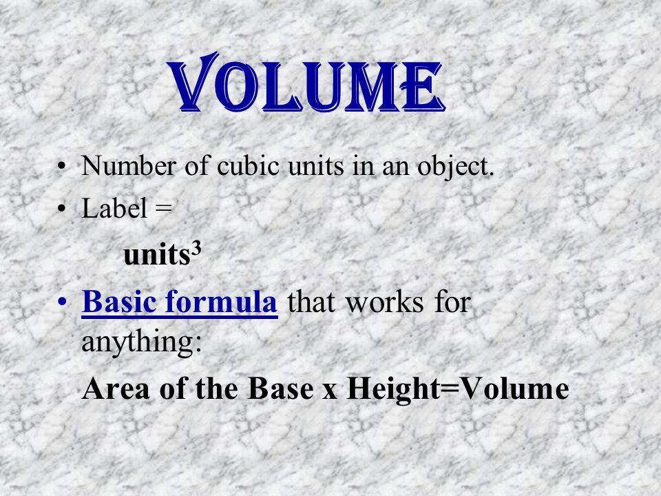 Volume Basic formula that works for anything: