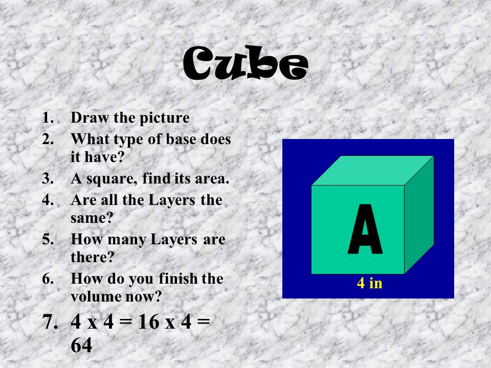 Cube A 4 x 4 = 16 x 4 = 64 Draw the picture